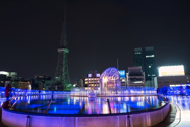 Oasis21 and nagoya tv tower at night