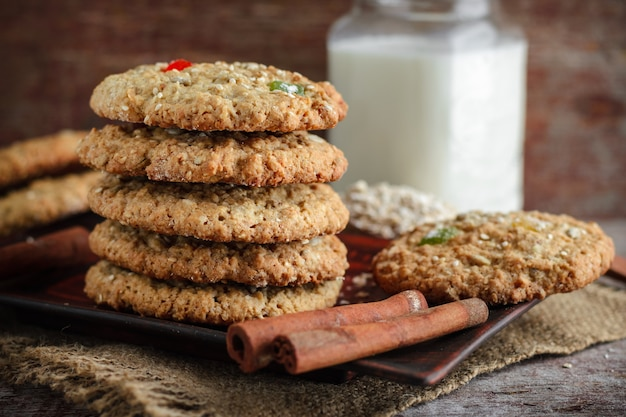 Oat biscuits on a wooden background