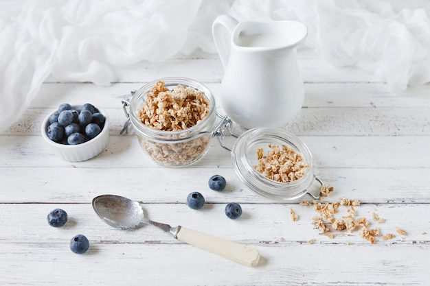 Oat flakes and fresh blueberries with milk. delicious, healthy and useful breakfast