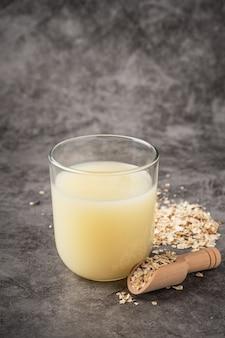 Oat milk in a glass.