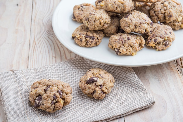 Oat and peanut butter cookies with pumpkin seeds and cinnamon