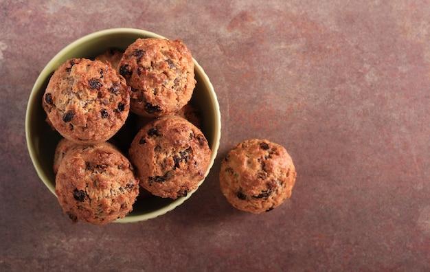 Oat, raisin and bran muffins