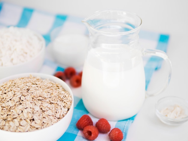 Oatmeal bowl with raspberry and milk