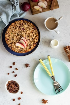 Oatmeal cake or baked oatmeal with apples and raisin. dietary autumn breakfast.