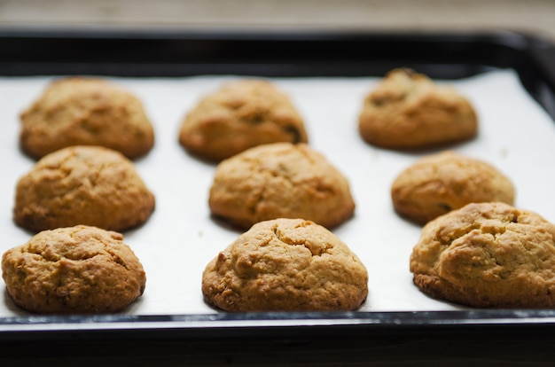 Oatmeal cookies on baking paper