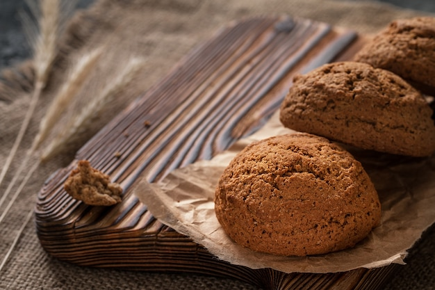 Oatmeal cookies closeup, morning breakfast, still life with bisc