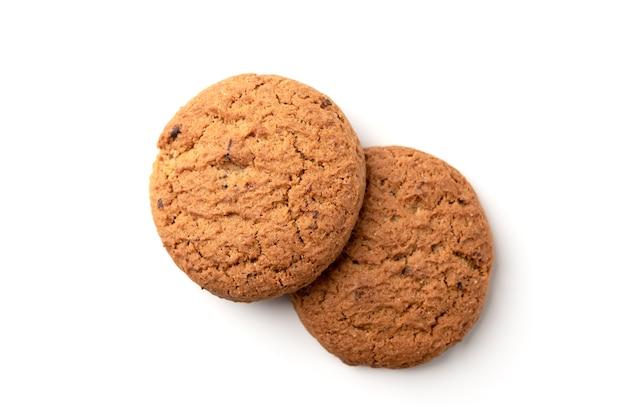 Овсяное печенье, изолированные на белой поверхности.