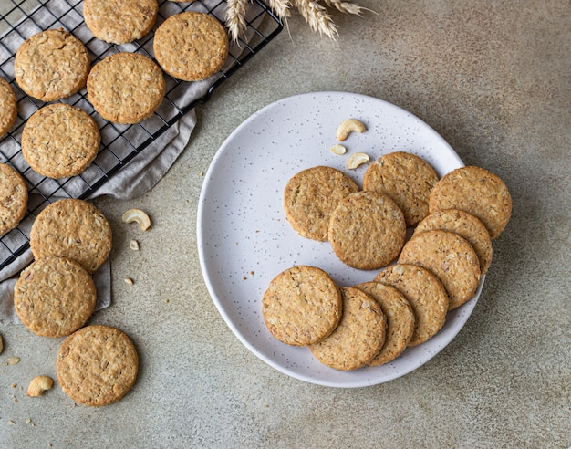 Oatmeal cookies with cereals, seeds and nuts