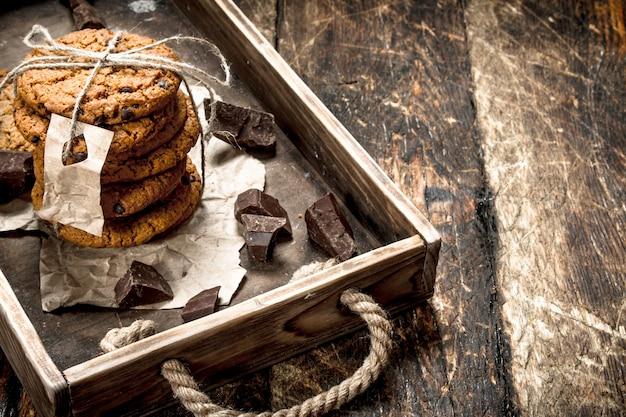 チョコレート入りオートミールクッキー。