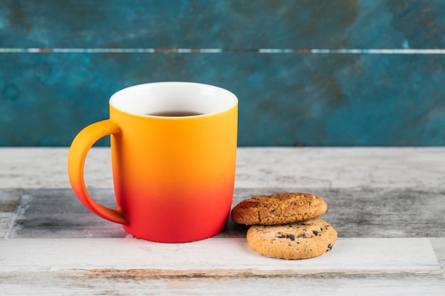 Oatmeal cookies with a cup of tea