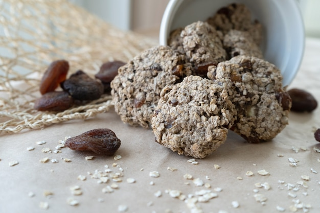 Oatmeal cookies with seeds and dried apricots.