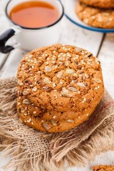 Oatmeal cookies with sesame seeds and pumpkin seeds for tea