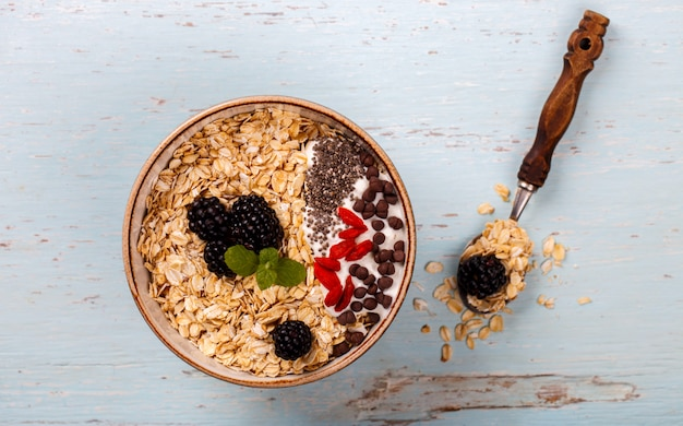 Oatmeal,granola with berries .summer healthy breakfast.