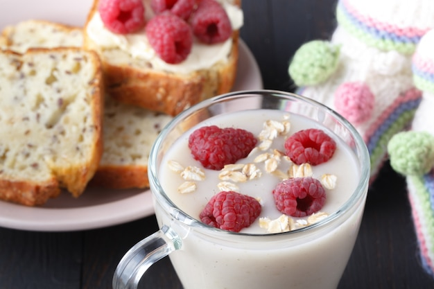 Oatmeal kissel for weight loss, homemade oat milk vegan product concept