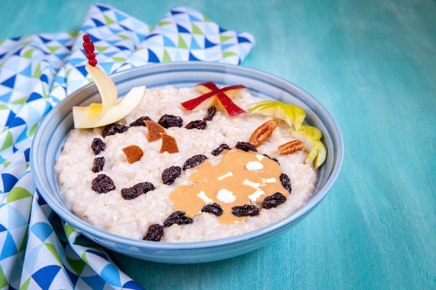 Oatmeal porridge with pirate treasure map