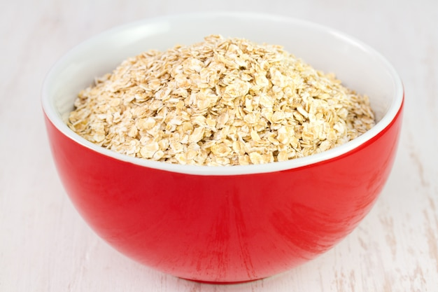 Oatmeal in red bowl