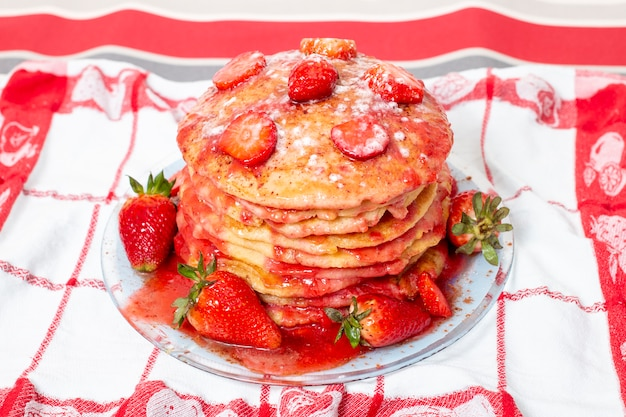 Oats and banana pancakes with strawberry