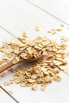 Oats on wooden table