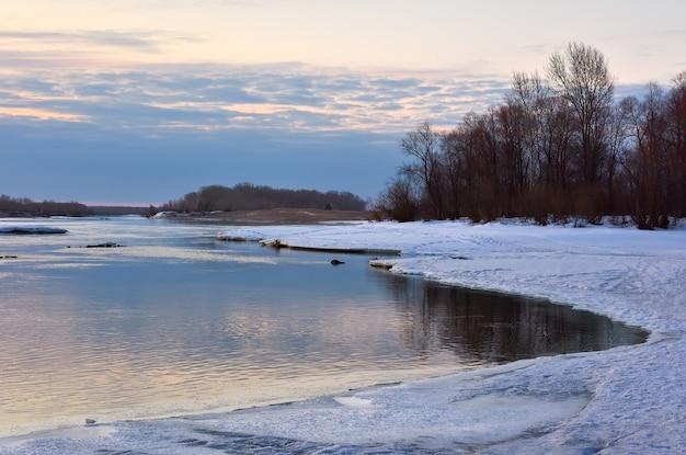 Ob river bank in spring