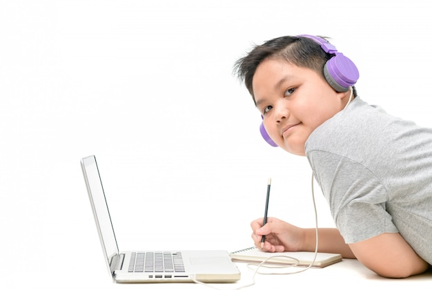 Obese boy student wear headphone study online with teacher isolated