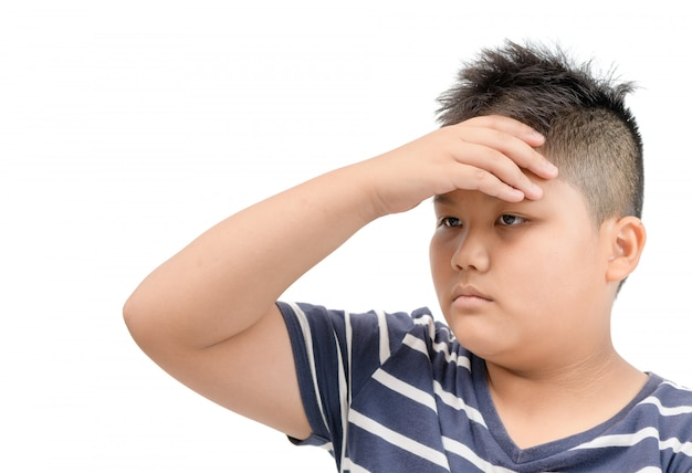 Obese boy suffering from headache isolated