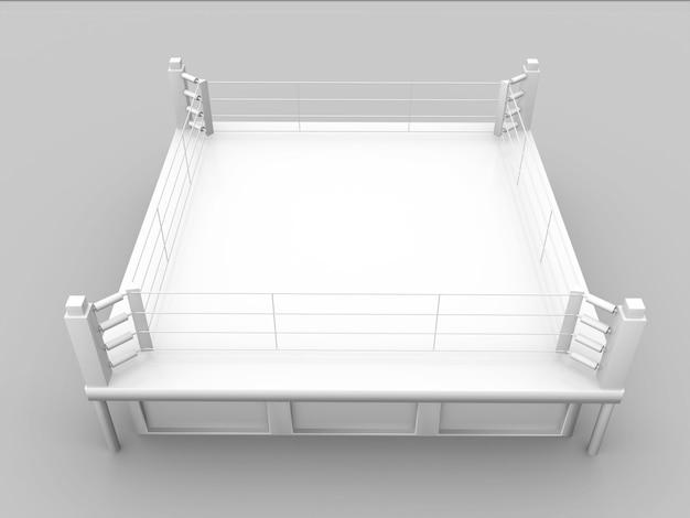 白いボクシングリングのトップビューは、object.3dレンダリングを分離します。