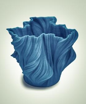 흰색 배경에 3d 프린터 격리됨으로 인쇄된 개체입니다. 밝고 다채로운 개체입니다. 블루 컬러의 꽃병. 자동 3차원은 플라스틱 모델링을 수행합니다. 현대 3d 프린팅 기술.
