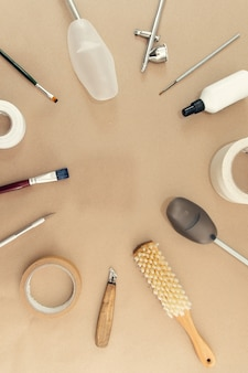 Objects and tools for the work of a shoe master