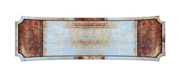 Продолговатая металлическая вывеска на белом фоне