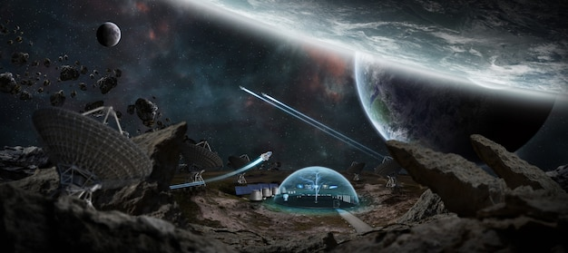 Observatory station in space 3d rendering