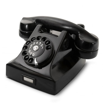 Obsolete phone on white background