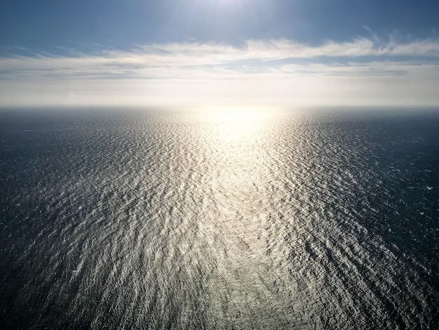 Ocean aerial view at sunset. sea and sky background wallpaper