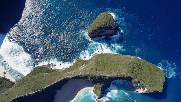 Ocean on a bali are photographed from a drone