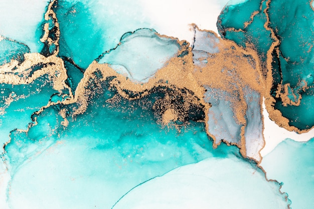 Ocean blue abstract background of marble liquid ink art painting on paper .