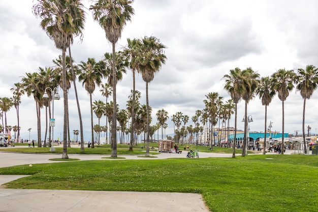 Ocean front walk of venice beach in los angeles, famous beach in california