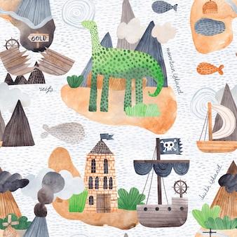 島、波、海賊船の海のイラスト。ファブリック、ラッピング、テキスタイル、壁紙、アパレルのクリエイティブなテクスチャ。水彩のシームレスなパターン。