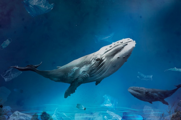 Ocean pollution campaign with whale swimming with plastic bags floating