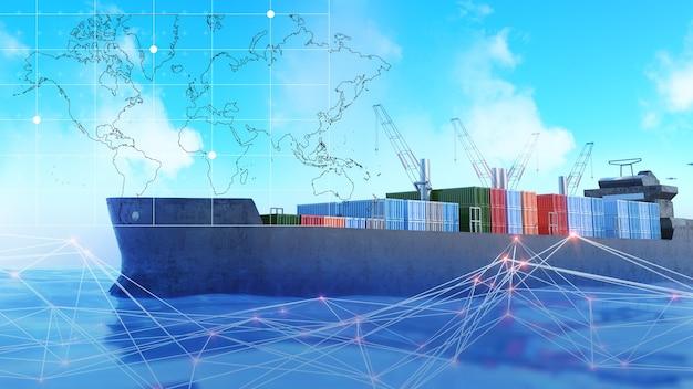 Морские суда перевозят товары в контейнерах. межконтинентальные перевозки океанскими лайнерами, 3d визуализация