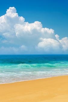 海の波と青い空。スリランカ