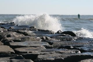 Ocean waves, rocks, maryland