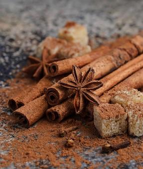 Сocoa powder, cinnamon sticks and anise