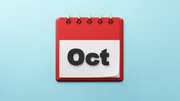 紙のデスクカレンダーの10月3dレンダリング