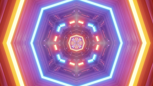 Octagon shaped abstract tunnel glowing with colorful vivid neon lights 4k uhd 3d illustration