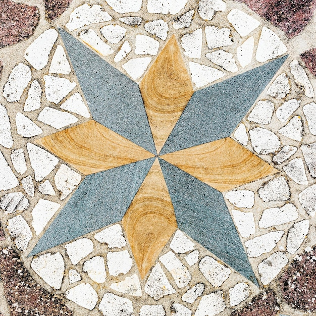 Octagram pebble pattern on the floor