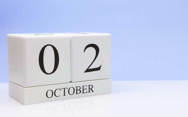 October 02st. day 2 of month, daily calendar on white table