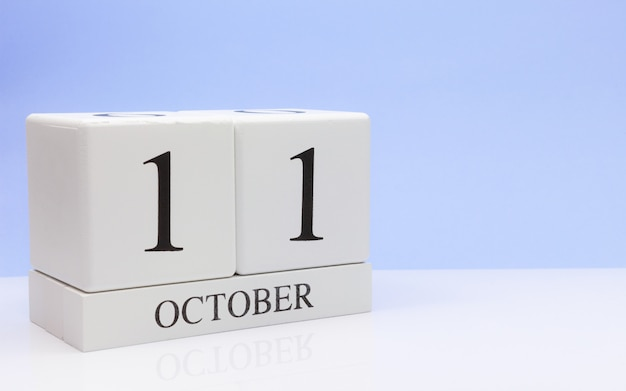 October 11st. day 11 of month, daily calendar on white table