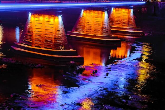 October 14 2016 footbridge night uzhgorod ukraine road lights
