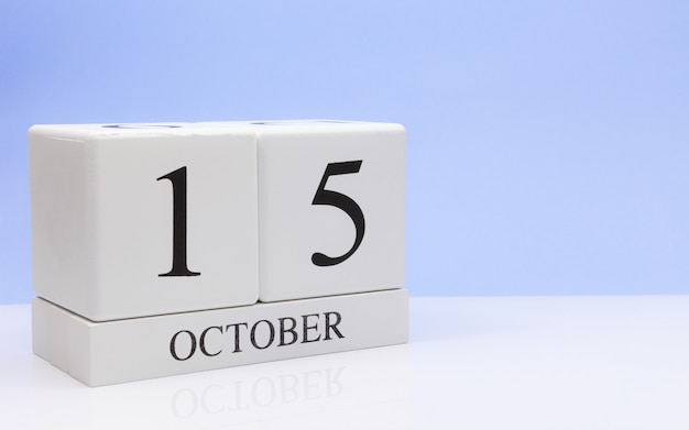 October 15st. day 15 of month, daily calendar on white table