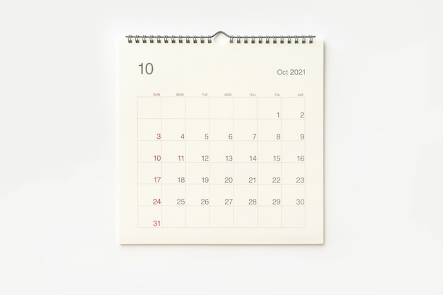 October 2021 calendar page on white background. calendar background for reminder, business planning, appointment meeting and event.