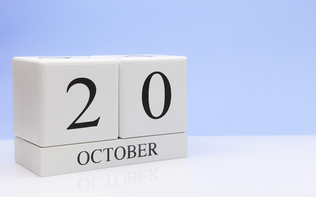 October 20st. day 20 of month, daily calendar on white table